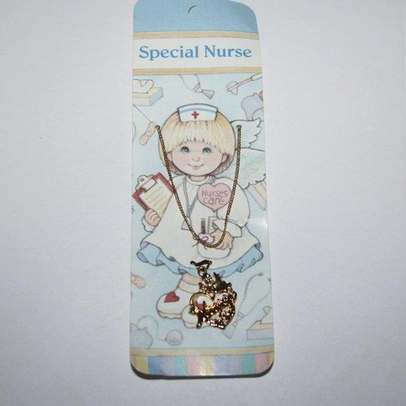 New special nurse necklace gold tone set